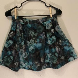 Blue Floral A Line Mini Skirt
